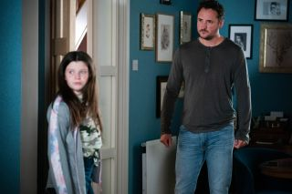 Martin Fowler questions Lily Slater in EastEnders