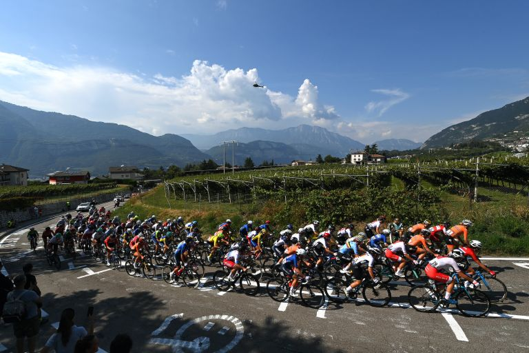 The women's peloton during the European Championships road race