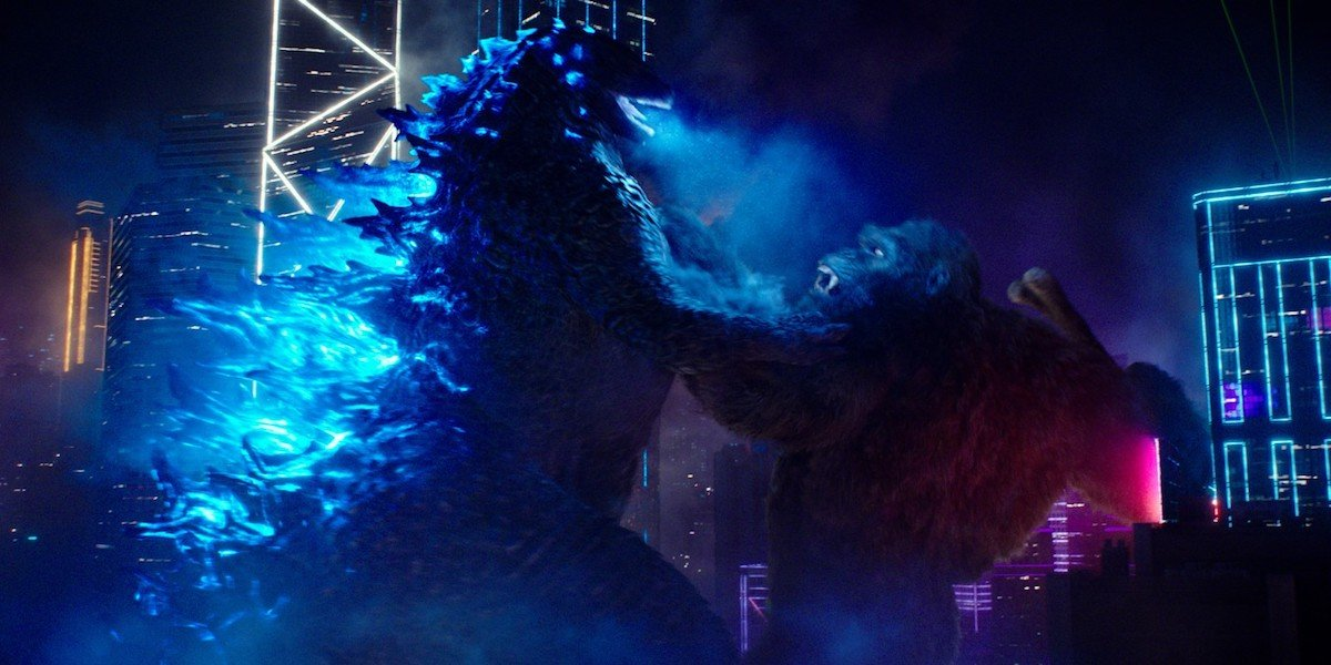Godzilla and Kong fighting in Godzilla vs. Kong night city sequence