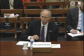 Bill Gerstenmaier, who at the time was NASA's associate administrator for human exploration and operations, testifies before Congress on Dec. 10, 2014, about the Space Launch System rocket.