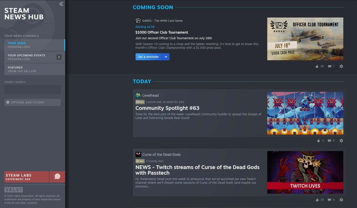 Steam's customizable News Hub gets a big update ahead of full launch