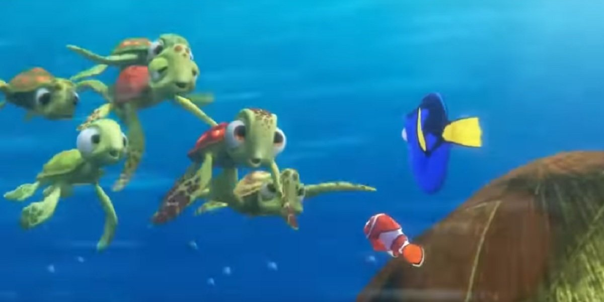 Squirt, Dory, and Nemo in Finding Dory