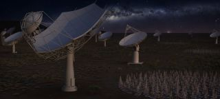Artist's illustration of the full Square Kilometer Array at night featuring all four elements. The low frequency aperture array antennas (bottom right), and precursor ASKAP dishes (background right) will be located in Western Australia. The SKA-mid (front left) dishes and precursor MeerKAT dishes (background left) will be located in South Africa, with some remote stations in other African partner countries.
