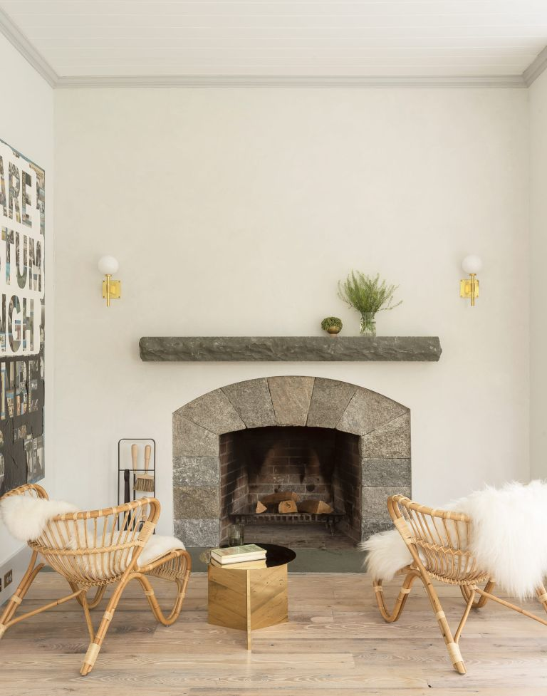 Rustic living room with stone fireplace