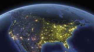 Earth at night USA - stock photo