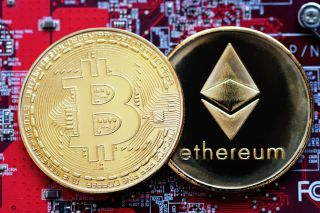 Bitcoin and Ethereum stock image