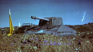 The WWII Ghost Army unit used inflatable military equipment, such as the pictured armored vehicle, to fool German forces. They operated from May 1944 through the end of the war in 1945.