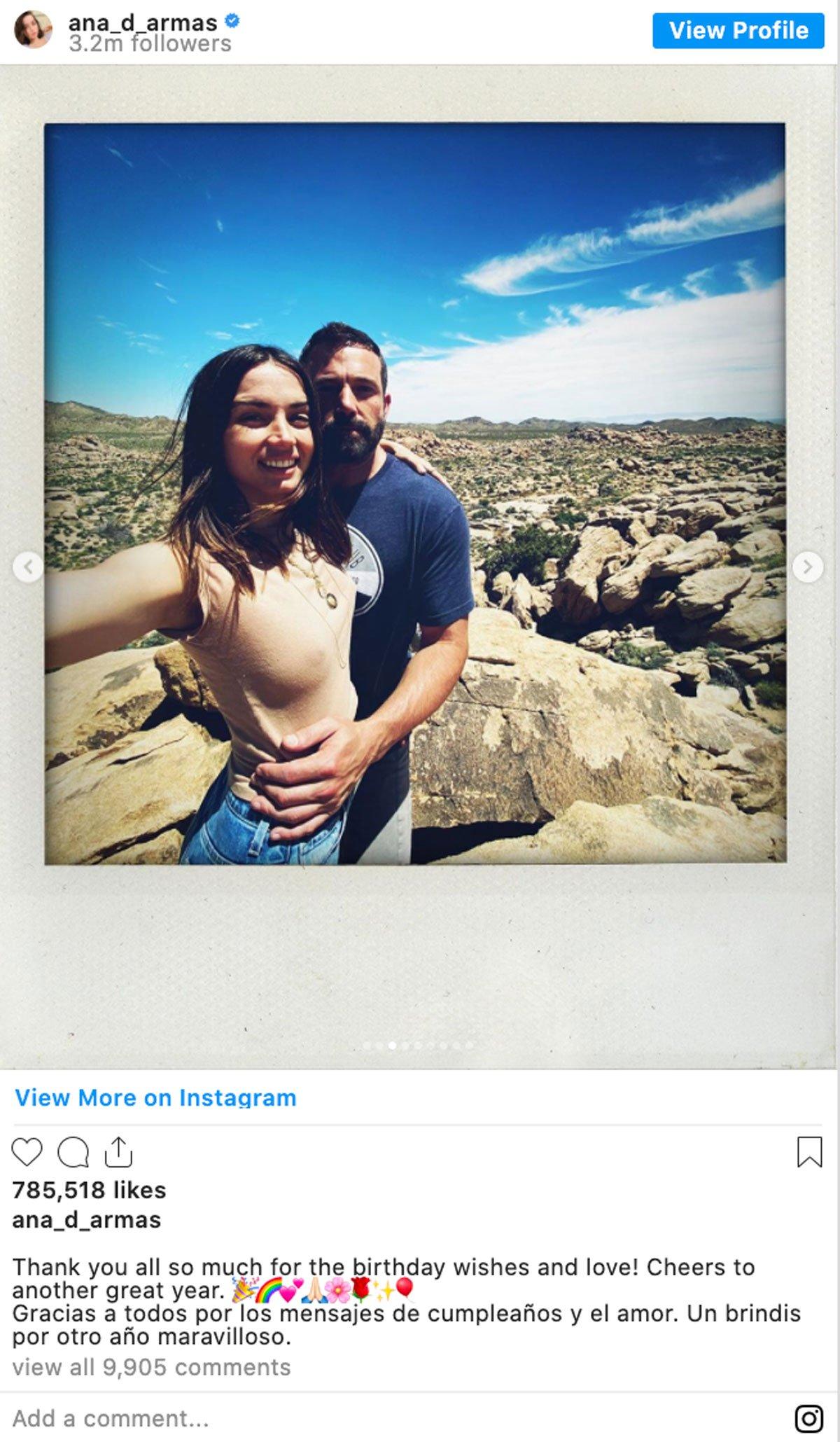 Ben Affleck and Ana de Armas Instagram screenshot.