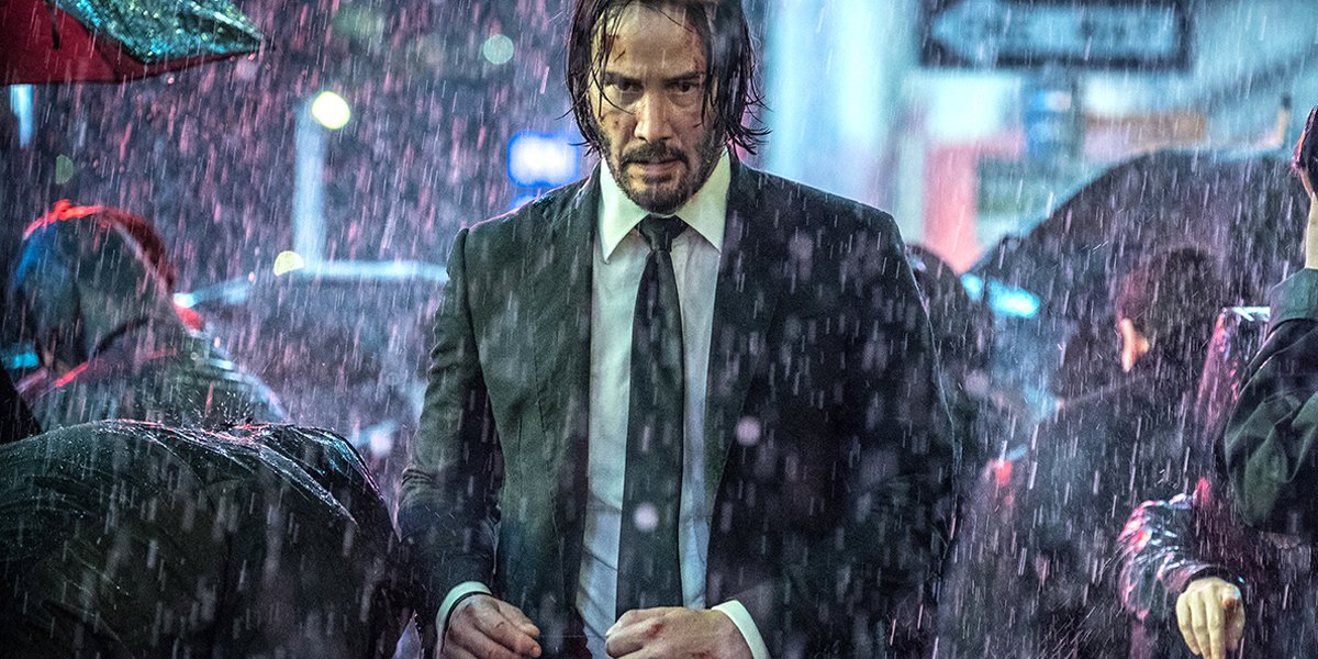 Keanu Reeves as John Wick in the rain John Wick Chapter 3 Parabellum