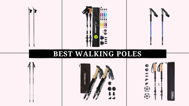 grid image with pink background of the best walking poles including TrailBuddy, Black Diamond, and more
