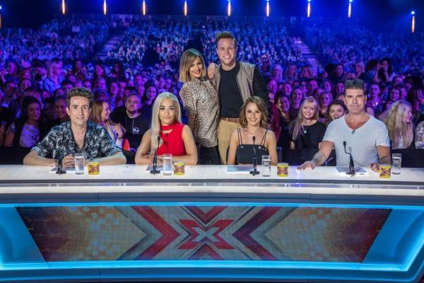 Nick Grimshaw, Cheryl Fernandez-Versini, Rita Ora, Olly Murs and Caroline Flack (ITV/PA)
