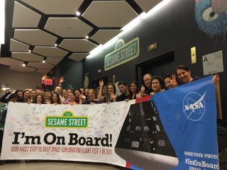 "The Sesame Street team at Sesame Workshop is ""On Board"" with NASA's Orion spacecraft test flight. This image is one of many from professionals and the public in support of NASA's first Orion test flight in December 2014."