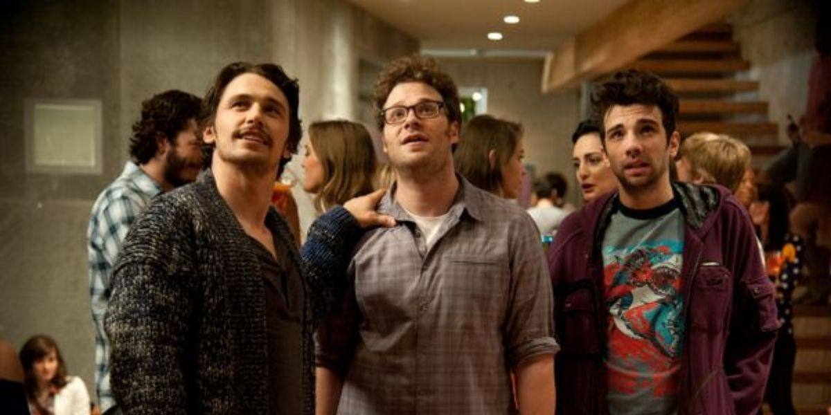 James Franco, Seth Rogen and Jay Baruchel in This is The End Looking Up