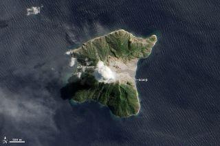 Eruption of Indonesia's Batu Tara volcano from above
