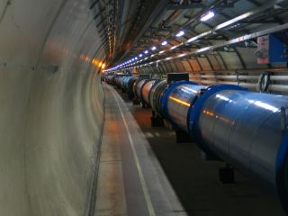 a tunnel at the large hadron collider at CERN