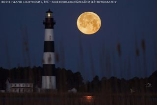 Full Moon Setting Next to Bodie Island Lighthouse
