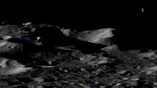 An artist's depiction of permanently shadowed craters near the moon's south pole.