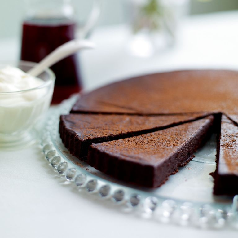 Warm Chocolate Tart with Tawny Port Syrup-chocolate recipes-recipe ideas-new recipes-woman and home