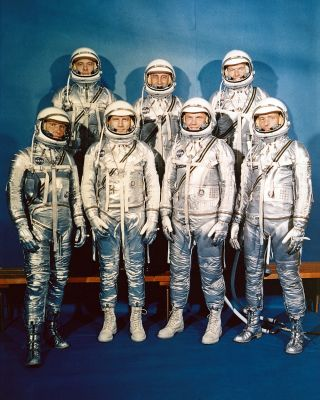 The National Aeronautics and Space Administration came into being on October 1, 1958. NASA announced the seven Project Mercury Astronauts on April 9, 1959, only six months later. They are: (front, l to r) Walter H. Schirra, Jr., Donald K. Slayton, John H.