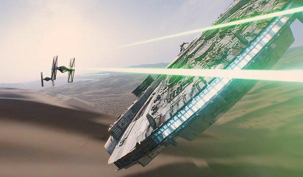 The Millennium Falcon doing battle on Jakku