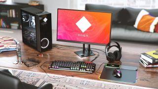 An HP OMEN gaming desktop at-the-ready.