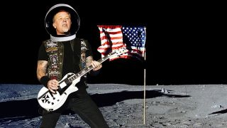 A picture of Metallica's James Hetfield playing guitar on the moon