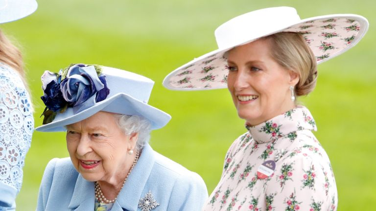 Queen Elizabeth II and Sophie, Countess of Wessex attend day one of Royal Ascot at Ascot Racecourse on June 18, 2019