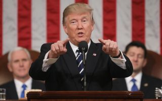 President Donald Trump delivers his first address to a joint session of the U.S. Congress on Feb.28, 2017 in the House chamber of the U.S. Capitol in Washington, DC.