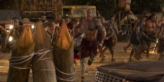 Dwayne Johnson and family members charging into battle in Hobbs and Shaw