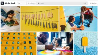 Variety of images on Adobe Stock homepage