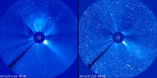 Fast-moving protons from a solar energetic particle (SEP) event cause interference that looks like snow in these images from the Solar Heliospheric Observatory taken on January 23, 2012. Credit: SOHO/ESA & NASA