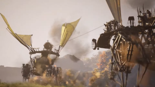 An image of two wooden walking ships from Last Oasis, one is chasing the other.
