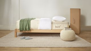 The Birch Luxe Natural Mattress shown on a light wooden bed and dressed with green bed throw