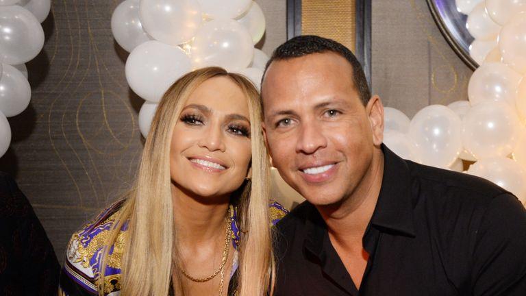 Jennifer Lopez and Alex Rodriguez attend Jennifer Lopez's MTV VMA's Vanguard Award Celebration at Beauty & Essex on August 21, 2018 in New York City