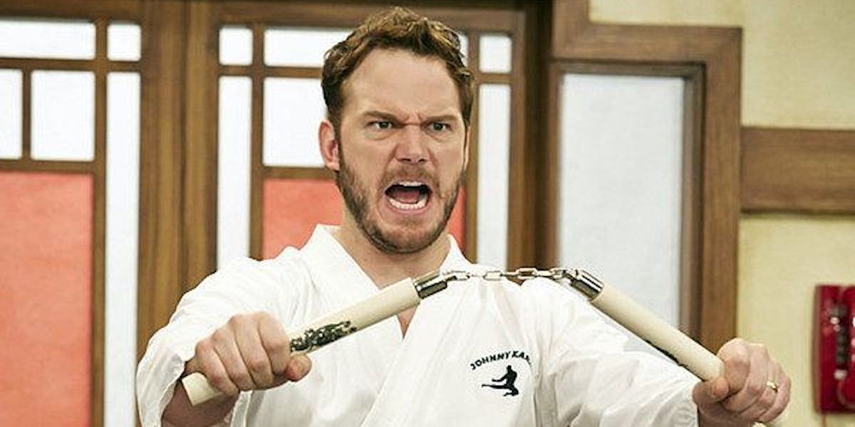 Chris Pratt as Andy Dwyer as Johnny Karate in Parks and Recreation