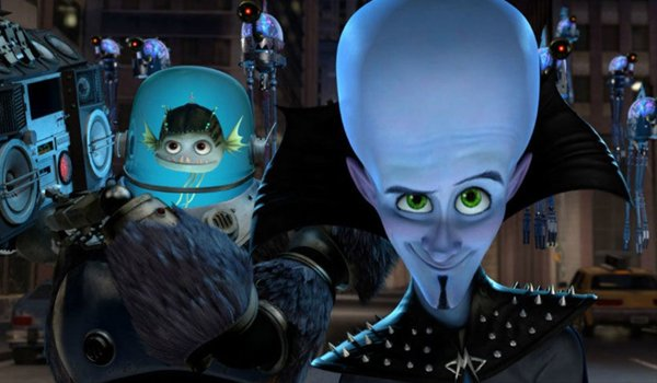 Megaind and his assistant looking into the camera in Megamind