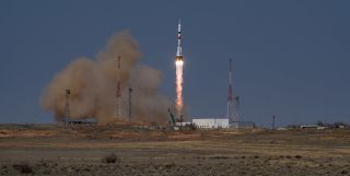 A Russian Soyuz rocket and capsule launch to the International Space Station in April 2021.