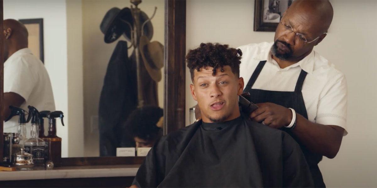 Patrick Mahomes getting his haircut.