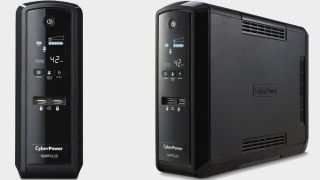 CyberPower 1500VA UPS battery backup on a gray background.