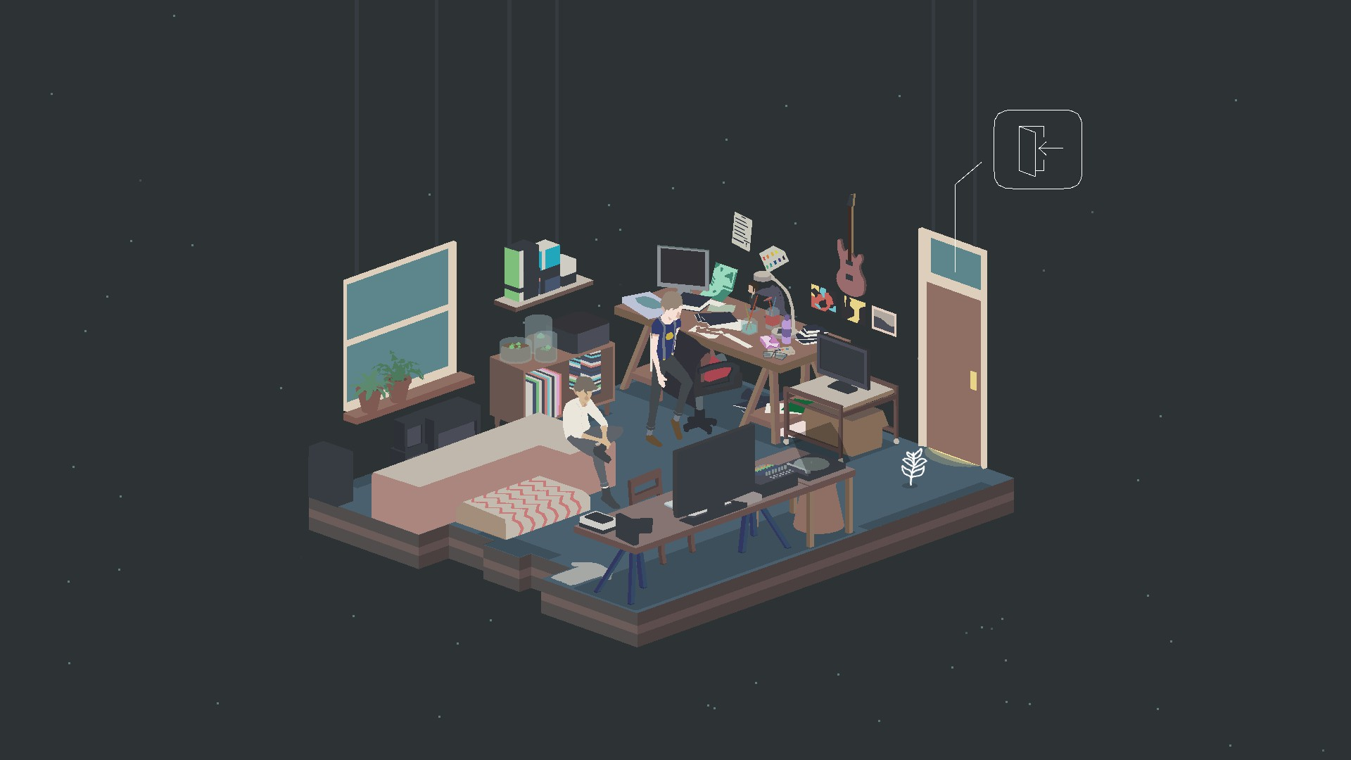A student's room cluttered with desks and screens