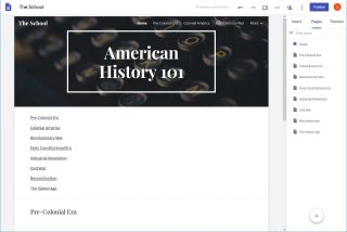 Google Sites screenshot: American History 101 with multiple sub pages