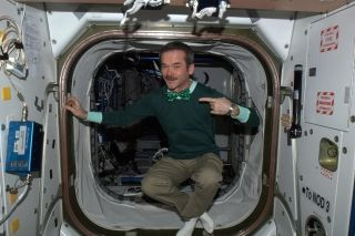 Canadian astronaut Chris Hadfield celebrates St. Patrick's Day in space.