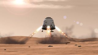 An artist's illustration of a SpaceX Dragon capsule landing on Mars. SpaceX CEO Elon Musk is aiming to build cities on Mars to make humanity a multiplanet species.