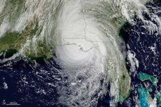 Hurricane Michael is seen from space just before landfall.