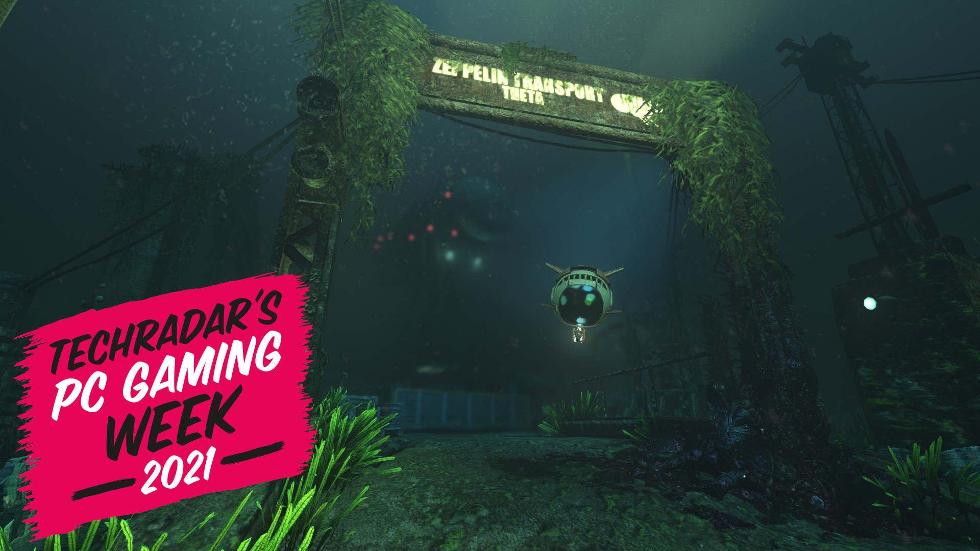 An underwater gate in Soma with the TechRadar PC Gaming Week logo 2021