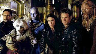 "The cast of ""Farscape"": Lani John Tupu, Gigi Edgley, Virginia Hey, Claudia Black, Ben Browder and Anthony Simcoe."