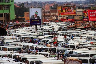 Taxis in Kampala crowded downtown
