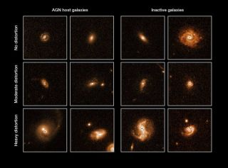 Comparisons between Active Galactic Nuclei galaxies (left) and average galaxies as seen by the Hubble Space Telescope.Galactic