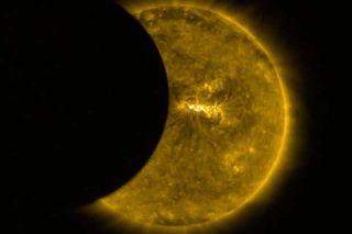 European Space Agency Proba-2 satellite captured a partial solar eclipse 3 times on Aug. 21, 2017