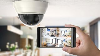 Security camera mounted in ceiling